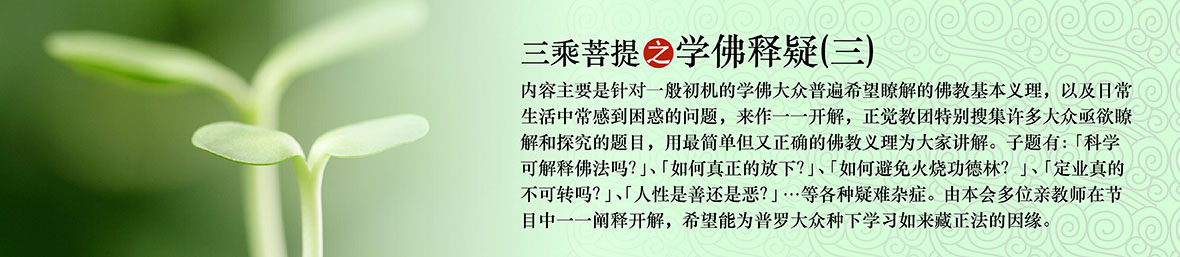 三乘菩提之学佛释疑(三)